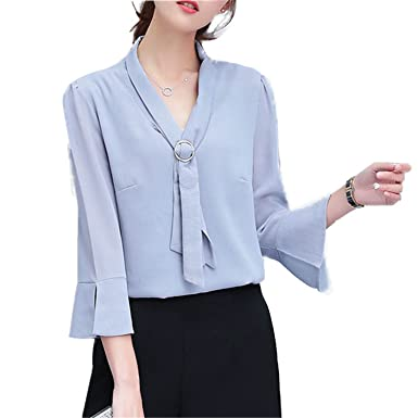 OUXIANGJU Women Spring Summer Chiffon Blouses Office Tops Casual Three Quarter Sleeve V-Neck Shirts