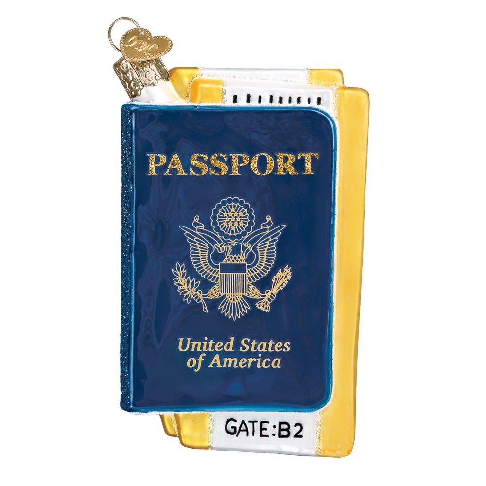 Old World Passport Travel Glass Blown Hanging Ornament