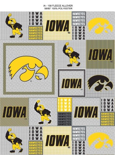 College Grey University of Iowa Hawkeyes Grey Patchwork Print Fleece Fabric By the Yard
