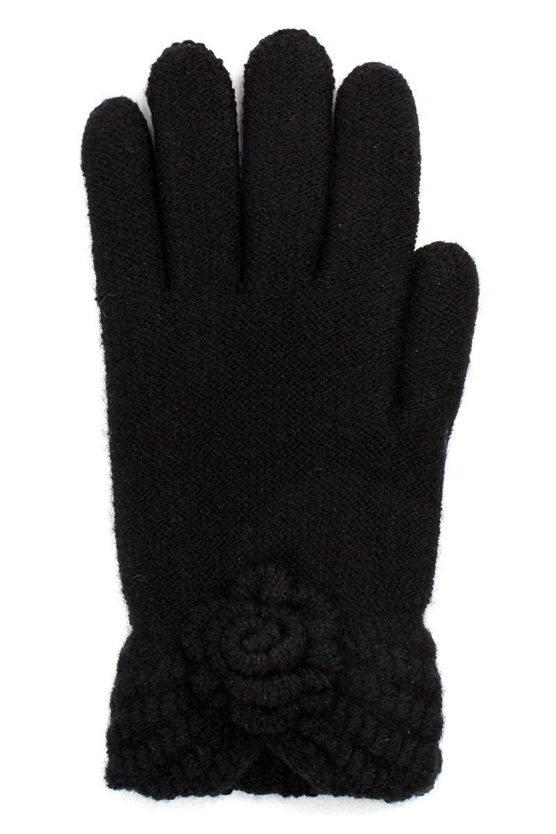 LL- Womens Warm Winter Knit Fashion Gloves, Fleece Lined- Rose Cuff (Black2)