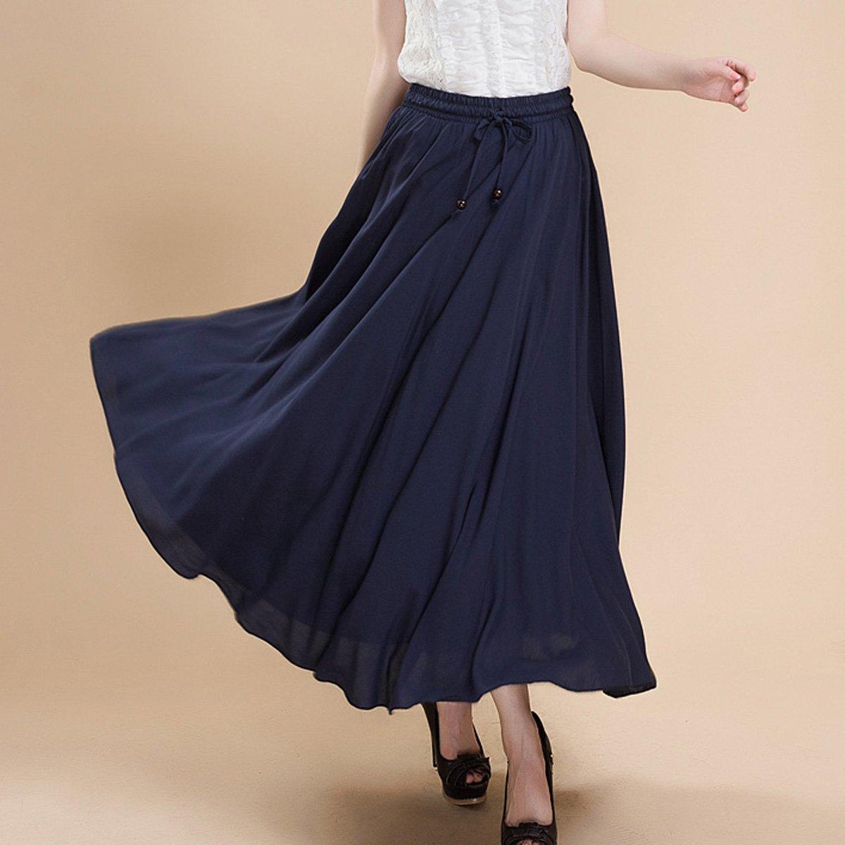 3902998f3 Feoya Falda Larga para Mujeres Plisada Maxi Dress Bohemia para Playa ...