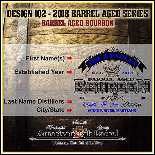 Personalized American Oak Bourbon Aging Barrel (102) - Custom Engraved Barrel From Skeeter's Reserve Outlaw Gear - MADE BY American Oak Barrel - (Natural Oak, Black Hoops, 5 Liter) by American Oak Barrel (Image #1)