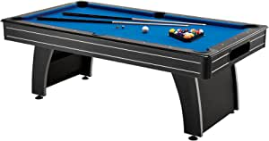 Fat Cat Tucson 7' Pool Table with Automatic Ball Return, Electric Blue Playing Surface and Included Billiard Accessories to Play Out of The Box