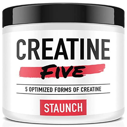 Staunch Creatine Five Creatine Powder (Fruit Punch) 30 Servings - Creatine Monohydrate, MagnaPower, Tri-Creatine Malate, Creatine Pyruvate, and Creatine Anhydrous