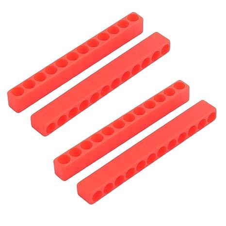 sourcingmap Hogar de materiales plásticos 12 hoyos Destornillador Porta-puntas rojas 4 PC