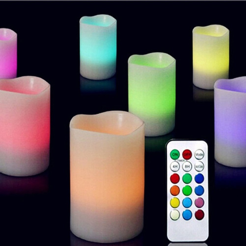 GEZICHTA 3Pcs Round Flameless LED Candle Lights, Colour Changing Flickering Flame with Remote Control Timer, Multi Colors Real Wax Decorative Lights(3Pcs)
