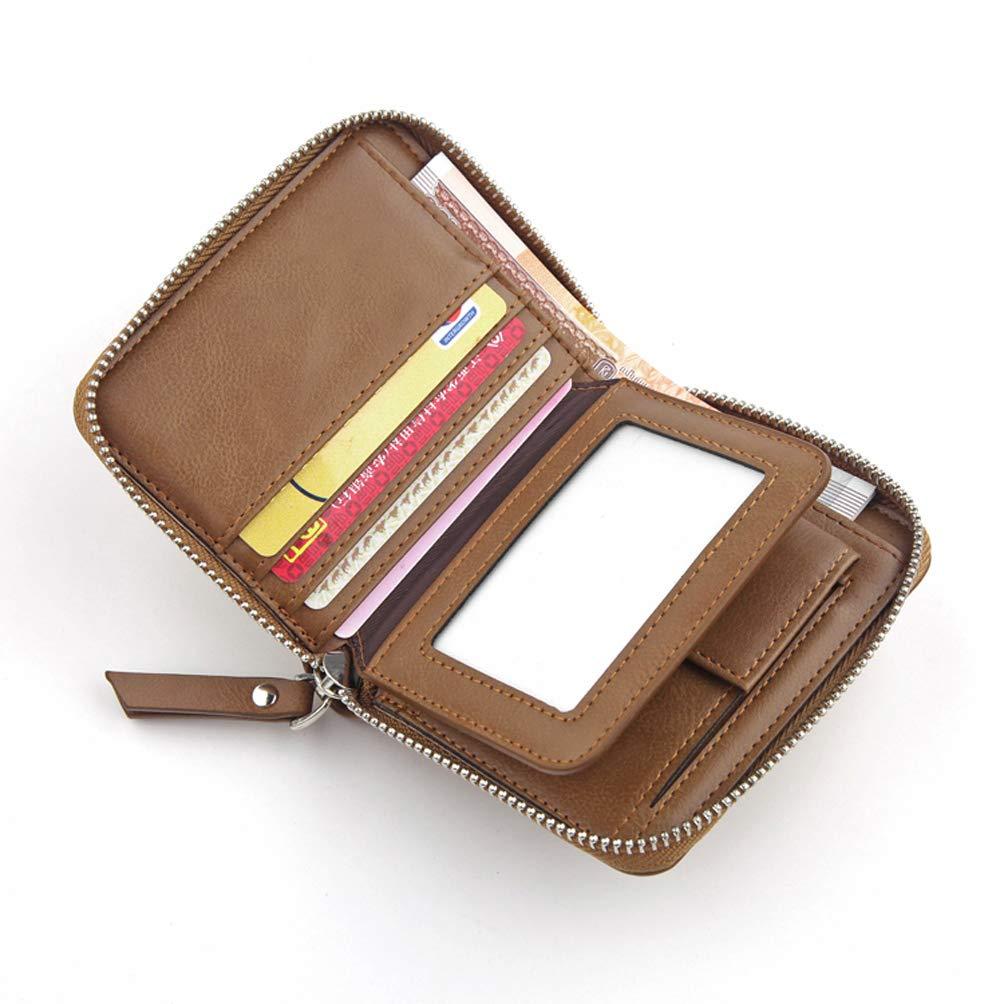 Mens Soft Leather Wallet Plenty of Storage Space RFID Blocking Wallet for Men Credit Card Holder Zippered Coin Pockets Unisex Purse Cash Change Wallet 8 Card Slots,Black,A