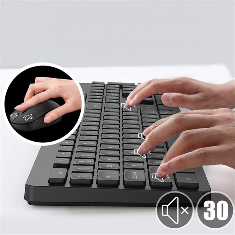 2.4G Wireless Keyboard and Mouse Set Mute Mouse and Keyboard Game Suitable for Notebook Desktop Computer Home Office WZHESS Wireless Keyboard and Mouse