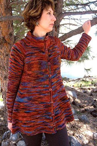 Neck Down Swing Coat Knitting Pure & Simple Pattern 285 -Beginner Knit for Women