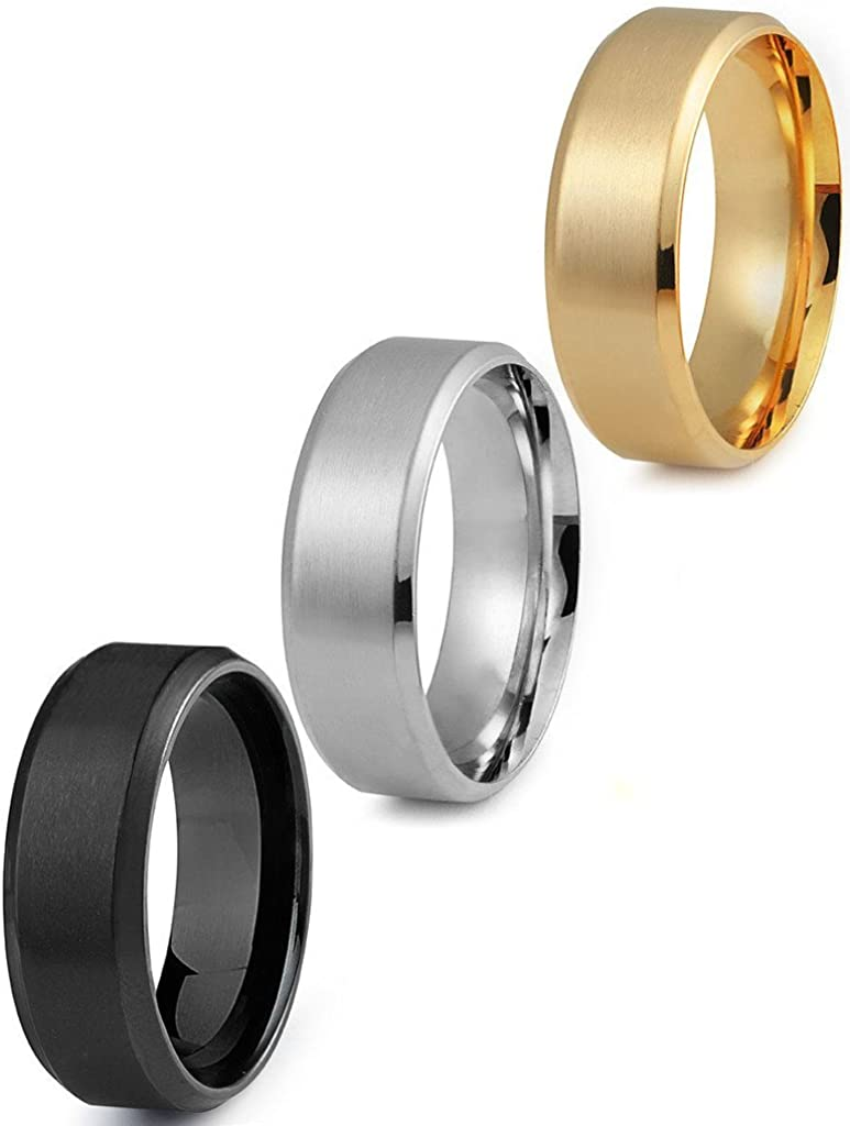 FIBO STEEL 8MM Stainless Steel Rings for Men Promise Wedding Band Ring Engagement 3 Pcs a Set, Size 8-14