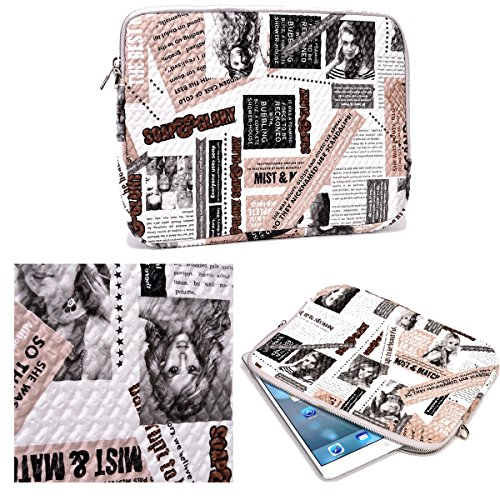 NuVur Universal Cute Printed Tablet Case Cover Sleeve Fits Samsung Galaxy Note 10.1|White/Pink by NuVur