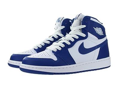 the latest 5ec49 5520d Nike Air Jordan 1 Retro High OG BG- Chaussures de Basketball Garçon, Blanc (