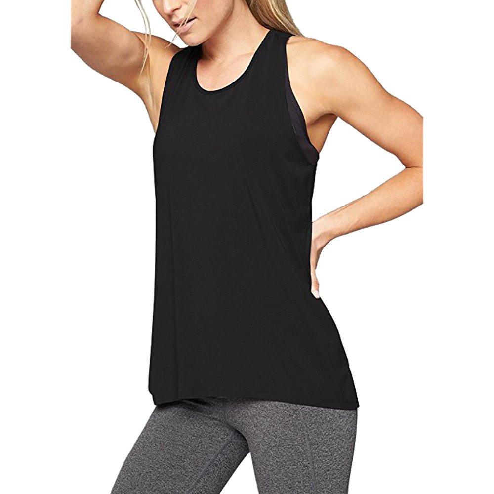 Dainzuy Workout Tanks for Women Cross Back Athletic Yoga Tops, Sleeveless Racerback Running Tank Top, Gym Exercise Shirts Black