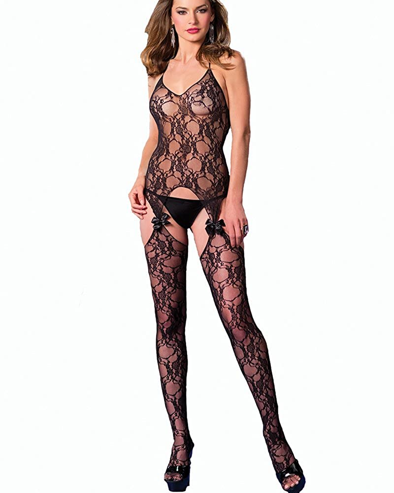 e8d9d5b66 Amazon.com  Be Wicked Women s Queen Size Suspender Bodystocking with Bow  Lace Detail