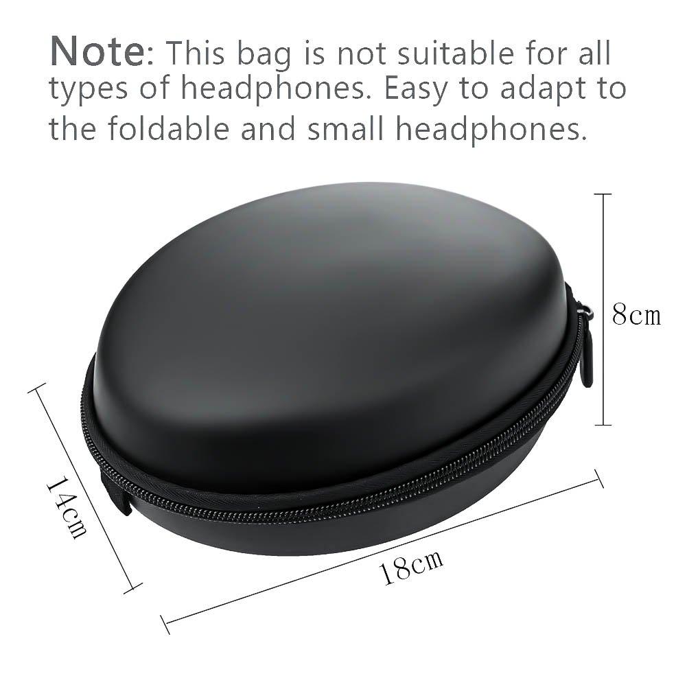 Ciaoed Kopfhörer Tasche Case on Ear Schutztasche EVA Reißverschluss Mini Runden Tragetasche Schwarz