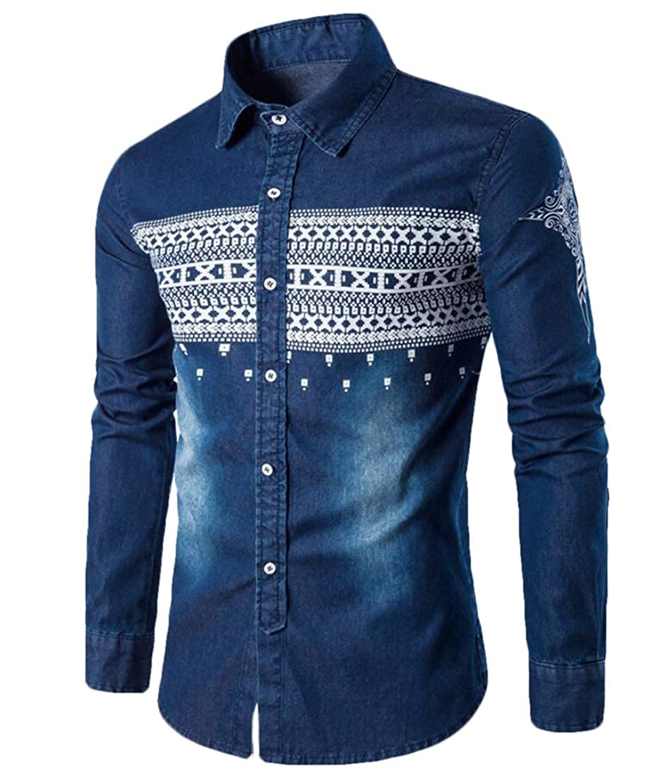 Alion Mens Slim Fit Denim Shirt Floral Embroidered Button Down Long Sleeve Shirt