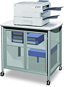 Safco Products Impromptu Mobile Print Stand with Doors 1859GR, Grey, 200 lbs. Capacity, Contemporary Design, Swivel Wheels