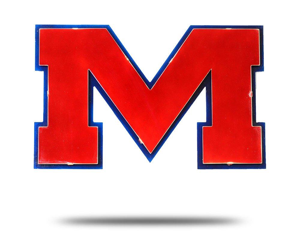 Gear New University of Mississippi M 3D Vintage Metal College Man Cave Art, Large, Red/Blue