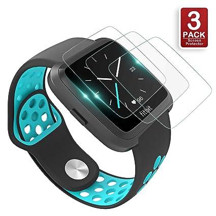 Fitbit Versa Screen Protector, KAERSI Screen Protector for Fitbit Versa Smartwatch, 9H Hardness/Crystal Clear/Scratch Resist/No-Bubble/Waterproof, ...