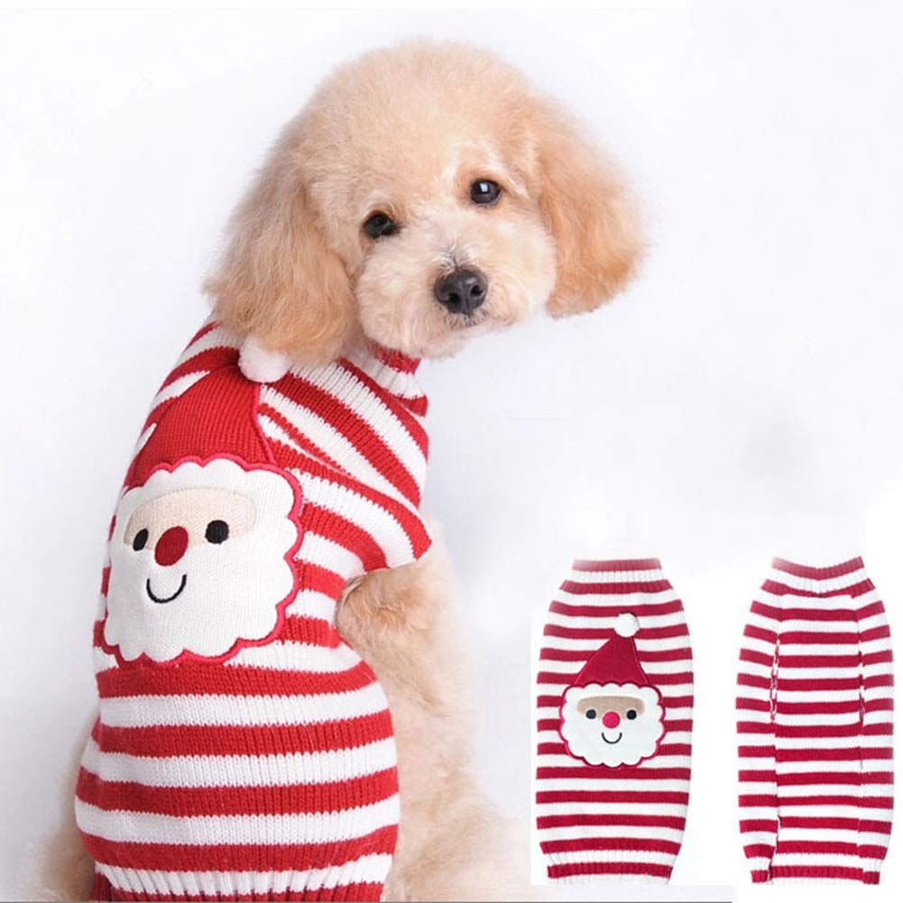 M Chest Girth  14.96\ Dog Winter Sweater,Christmas Santa Claus Knitwear Tutleneck Dog Apparel,Pet Sweatshirt Clothes Dog Wool Classic Warm Soft Sweaters for Cold Weather,Puppy Winter Coat for Small Medium Large Dogs
