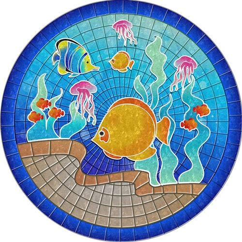 (Floating Pong Tropical Fish Pool Mat - Mosaic Pool Emblem - 59