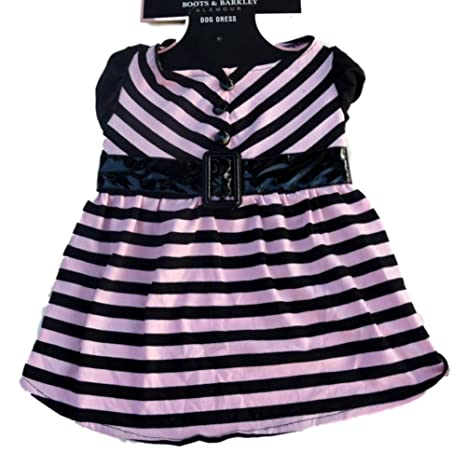 a8fb3aeb57e Amazon.com   Boots   Barkley Pink   Black Striped Glamour Dog Dress ...