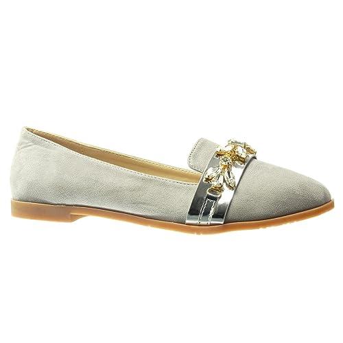 Angkorly - Zapatillas Moda Mocasines Slip-on Mujer Joyas Strass fantasía Tacón Ancho 1.5 CM - Gris HL25 T 41: Amazon.es: Zapatos y complementos