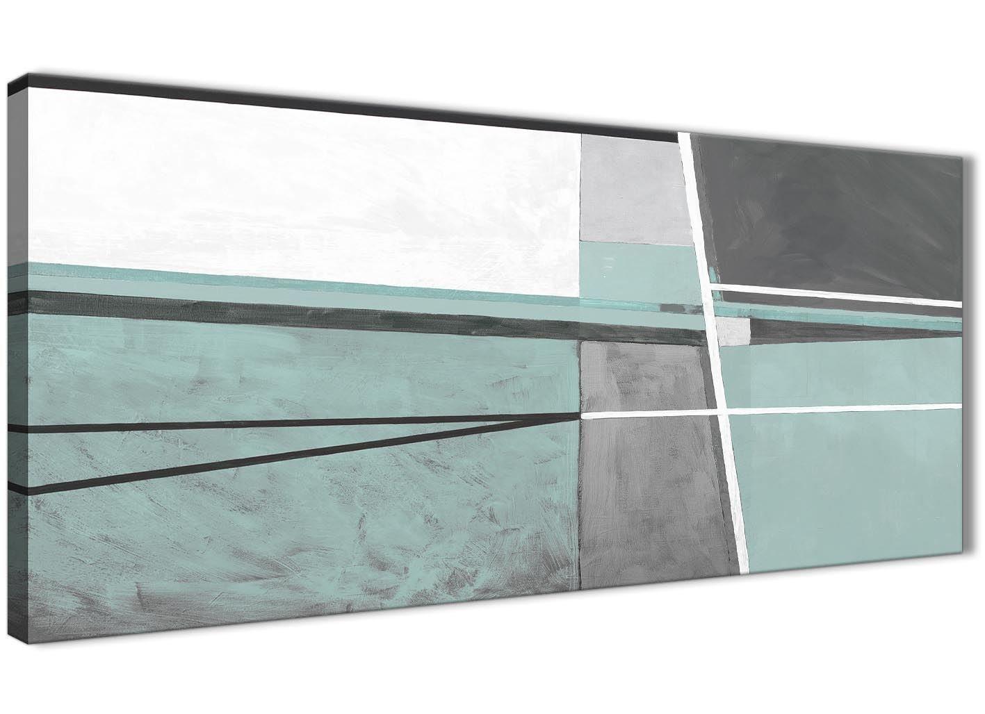 Duck Egg Blau Grau Ölgemälde Wohnzimmer Leinwand Bilder Zubehör–Abstract 1396–120cm Print Wallfillers