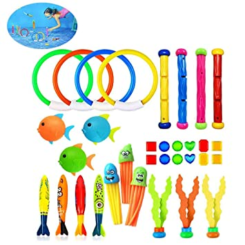 Activity & Entertainment Baby Products Underwater Diving Pool Toys 19PCS Set Diving Rings Diving Toypedo Diving Sticks Aquatic Dive Balls Swimming Fish Swimming Pool Toys For Kids With Carrying Bag