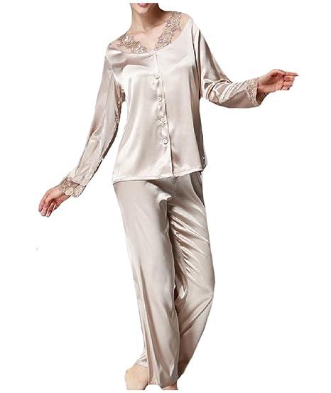 YUSKY Women Lace Trim Fall Winter Charmeuse Two Piece Sleepwear Set Camel S 2d9a2e950
