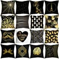 Pillowcase Home 18x18 Decorative Cushion Pillow Cover Black Gold Pillow Covers