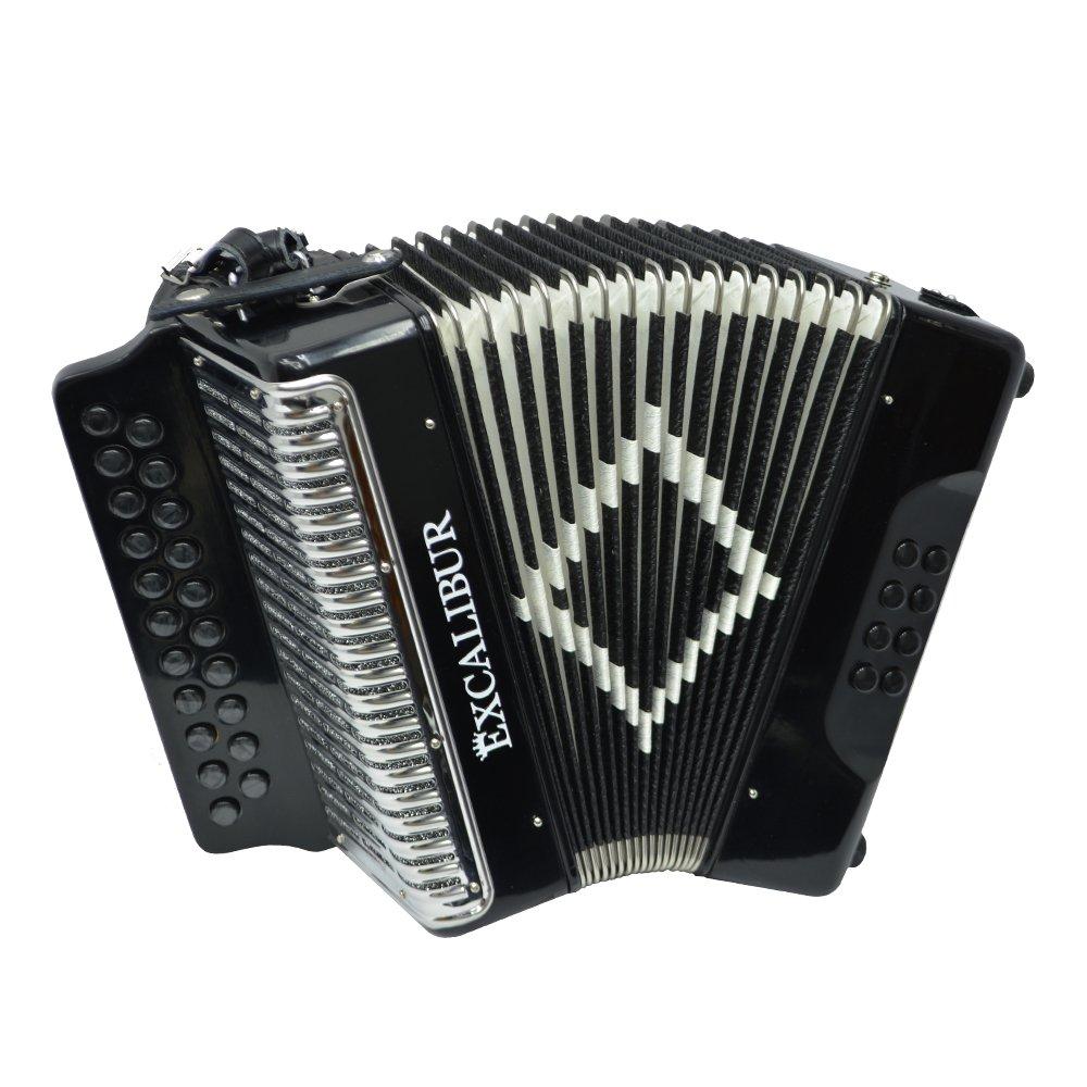 Excalibur Super Classic PSI 2 Row - Button Accordion - Black - Key of DG