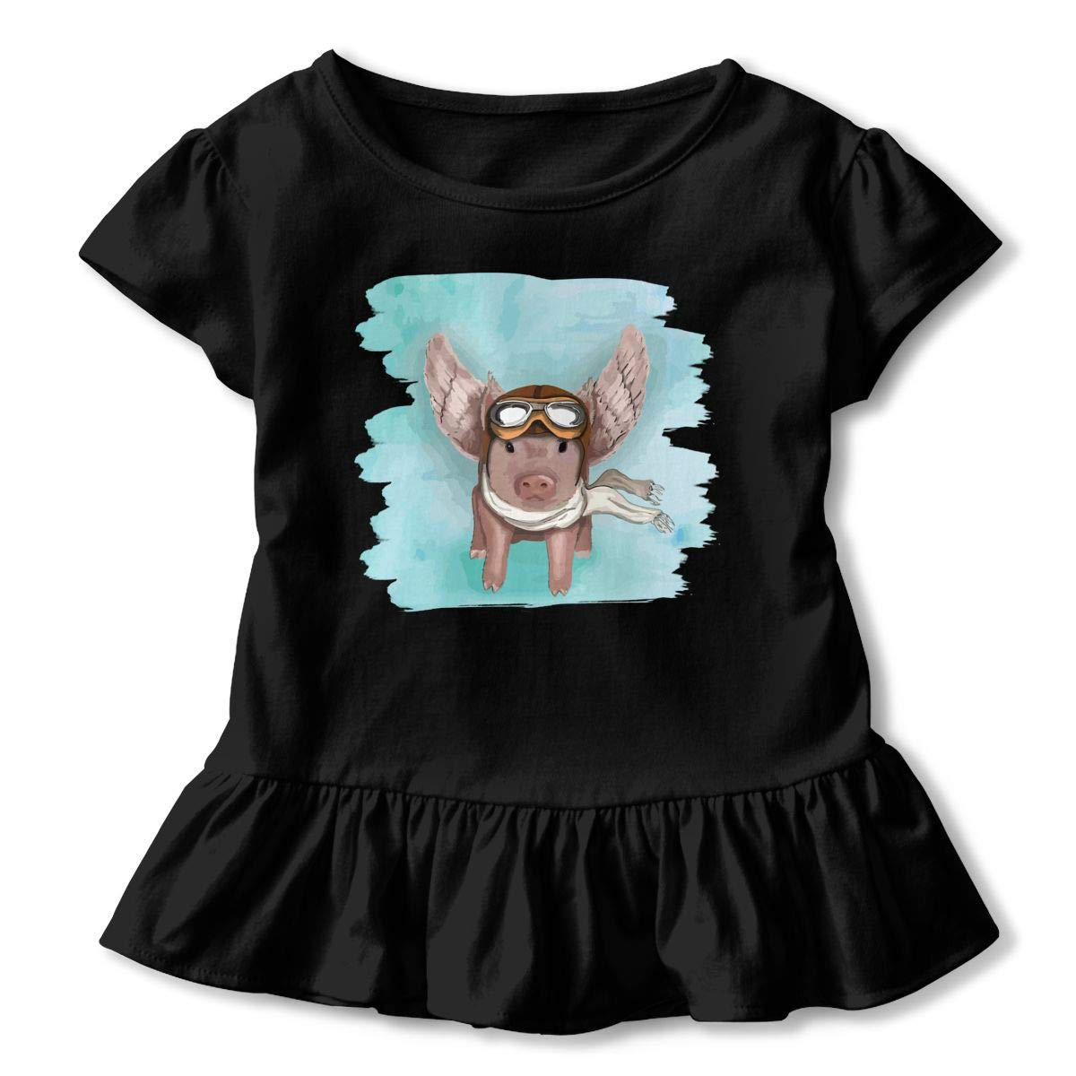 Flying Pig with Sungalsses and Scarf Toddler Baby Girls Short Sleeve Ruffle T-Shirt