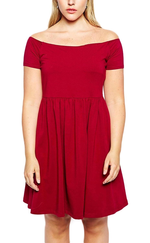 Bigood Plus Size Schulterfrei Sexy Damen Freizeitkleid Minikleid Party Kleid