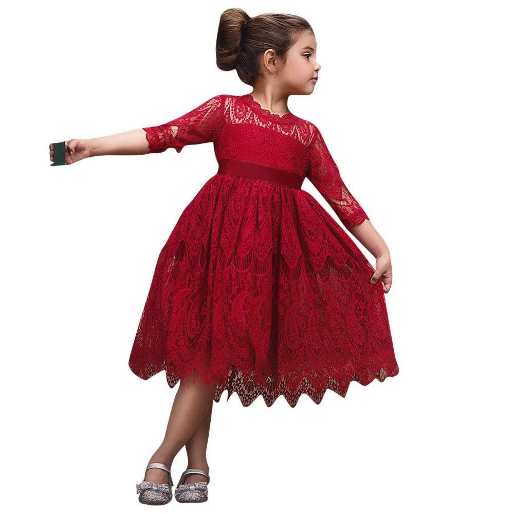 Longra Elegante Vestito in Pizzo da Bambino Ragazza Costume da Principessa Partito Compleanno Floreale Vestito Carnevale Cosplay Abito da Cerimonia Sposa Bambina 2-6 Anni