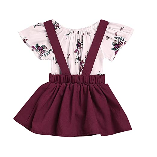 91539f80223 Amazon.com  ❤ Mealeaf ❤ Toddler Outfits Infant Baby Girls Rompers Floral  Print Jumpsuit Strap Dresses Tutu Skirt Clothes Set 0-3t  Clothing