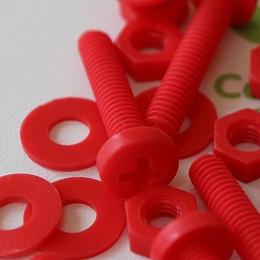 Anti-Corrosion 20x Black Screws Plastic Nuts /& Bolts Washers,M5 x 40mm