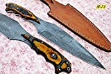 REG-B-75, Handmade Damascus Steel 14.4 inches Hunting Knife - Beautiful Two Tone Micarta Handle