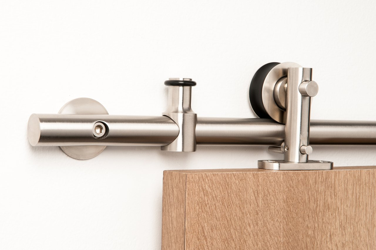 Double Door Set / Modern Stainless Steel Barn Door Hardware for Wood Doors / Satin Finish - Lumina WT Series (10' Rail Length)