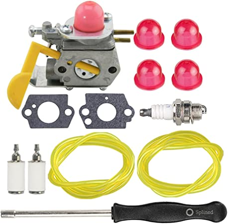 Hipa C1U-W24 545081808 Carburetor + Tune Up Kit Spark Plug for Poulan Featherlite Weed Eater FL20 FL20C FL23 FL25 FL26 FL26C FX26 FX26S FX26SC SST25 ...