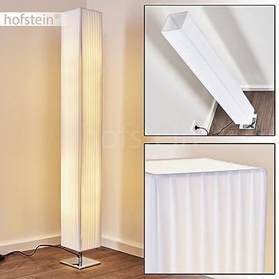 Élégant lampadaire Newtok en tissu blanc - Lampe avec abat-jour allongé et interrupteur à pied - Lampe pour chambre, salon, salle à manger