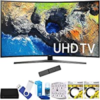 Samsung UN55MU7500FXZA 54.6 Curved 4K Ultra HD Smart LED TV (2017 Model) Plus Terk Cut-the-Cord HD Digital TV Tuner and Recorder 16GB Hook-Up Bundle