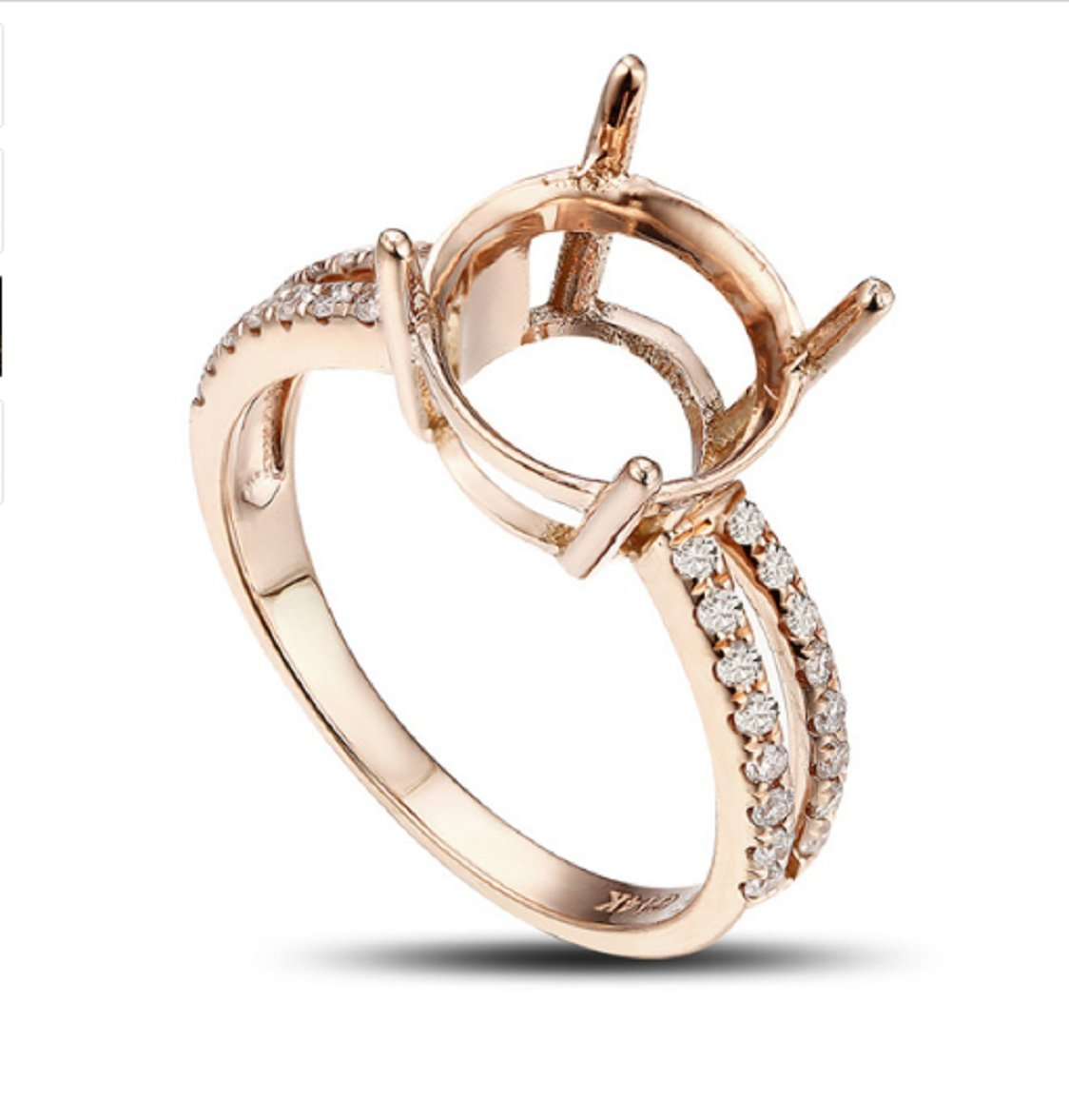 GOWE 10.0mm Round 14k Rose Gold Pave .35ct Round Cut Diamond Semi Mount Ring Resizable by GOWE
