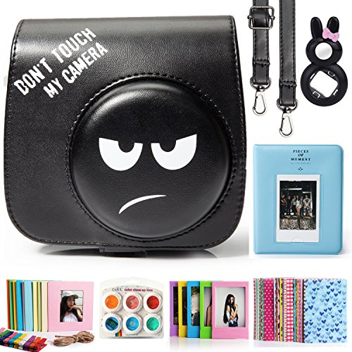 CAIUL Compatible Fujifilm Instax Mini 9 Film Camera Bundle with Case, Album, Filters & Other Accessories, Also fits for Fujifilm Instax Mini 8 8+ (Don't Touch My Camera, 7 Items)