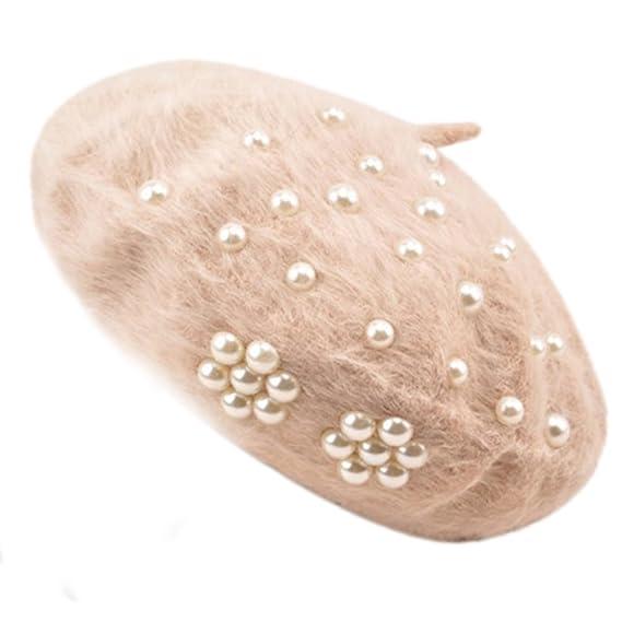 ... Invierno Boina Perlas Gorro de Algodón Beret para Mujers Sombrero de  Cálido Caliente Otoño e Invierno Elegante Elasticidad  Amazon.es  Ropa y  accesorios bc6d4b308d7