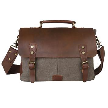Kattee Retro Designer Mens Canvas Leather Satchel Messenger ...
