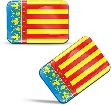 Biomar Labs® 2 x 3D Gel Pegatinas Siliconas Comunidad de España Bandera Valenciana Español Stickers Valencia Community Spain Flag Adhesivos Auto Coche Moto Bicicleta Ordenador F 89: Amazon.es: Coche y moto