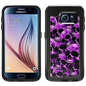 Skin Decal for Otterbox Commuter Samsung Galaxy S6 Case - Purple Skulls on Black