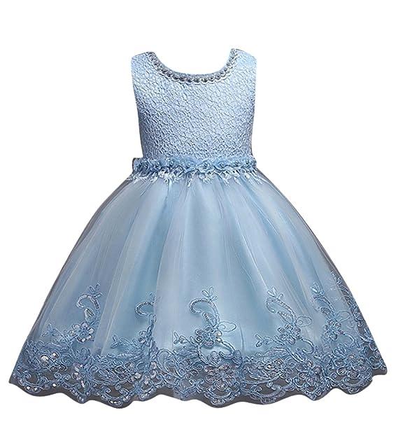 GUOCU Verano Niñas Falda Vestido de Ceremonia Bautizo para Bebés Sin Mangas de Encaje Tutú Vestido