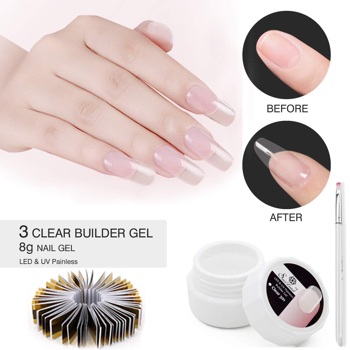 3 Clear UV Builder Gel Set, Saviland Nail Extension Gel Nail Art Manicure Set with Nail Form stickers Brush(8g/Box) by Saviland